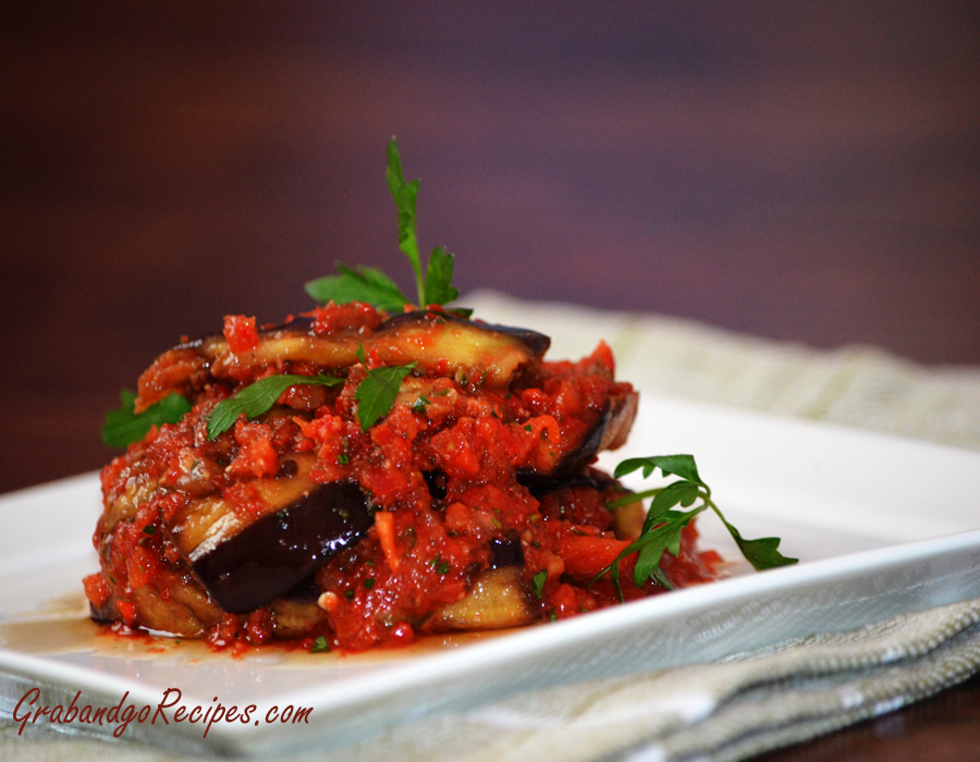 "Georgian Style Eggplant Recipe - Салат с баклажанами ""Тёщин язык"""